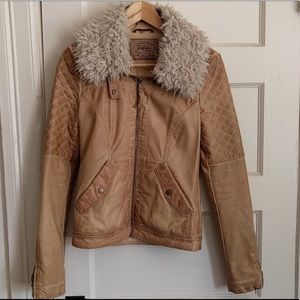 Zara faux leather fall jacket -pregnant need space
